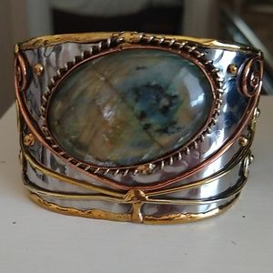 Anju labradorite two-tone cuff bracelet